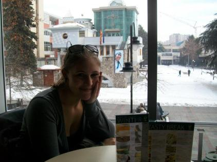 Drinking coffee in Skopje