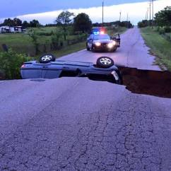 Oklahoma sinkhole after flooding