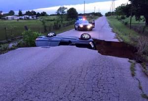 Oklahoma sinkhole after flooding