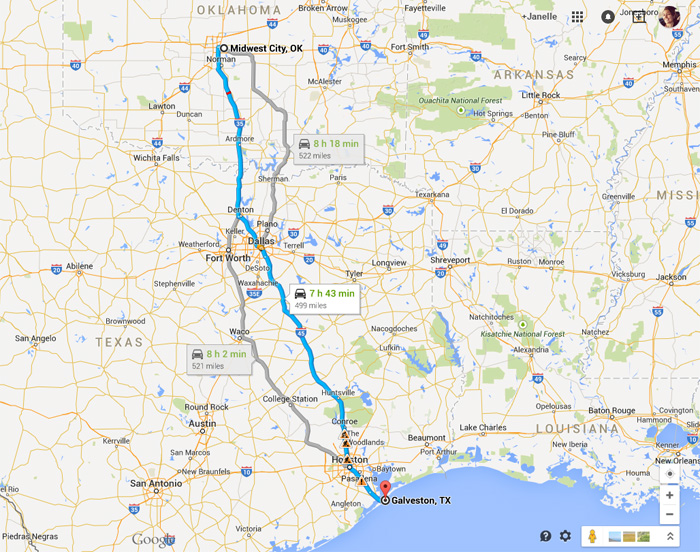 Oklahoma City to Galveston