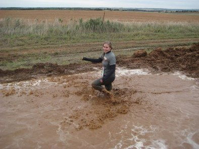 Janelle trudging through mud - Dirty 30