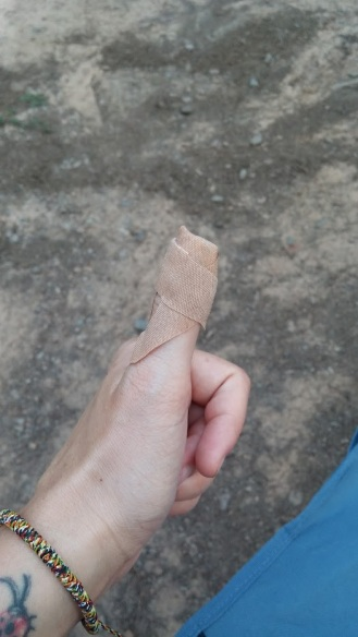 Cut finger wrapped up