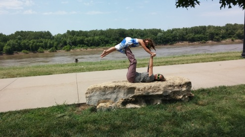 Playing at the Missouri River