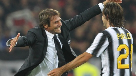 Andrea Pirlo and Antonio Conte during the Serie A match between Juventus FC and AC Milan on October 2, 2011 in Turin, Italy.