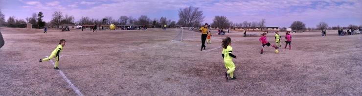 Panoramic Shot - Playing Soccer