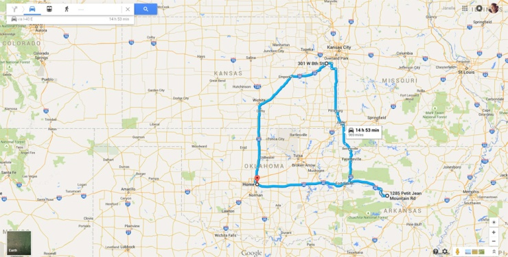 Google Map of Road Trip