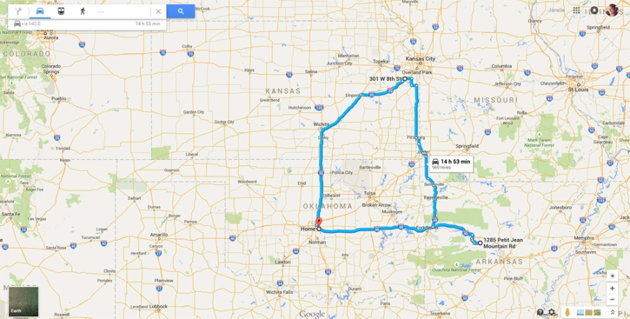 Google Map of Road Trip