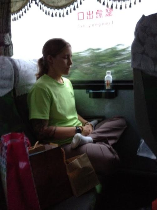 Me meditating on a bus in Taiwan