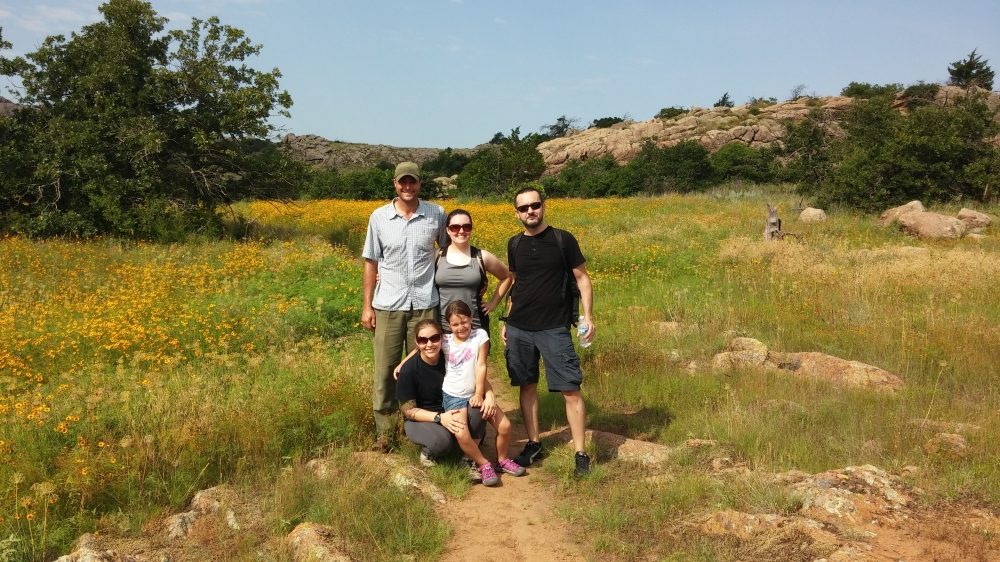 Friends Hiking in Wichita Mountains Wildlife Refuge