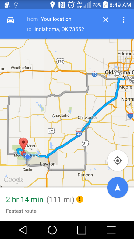 Oklahoma City to Indiahoma, OK on Android Google Map