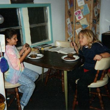 My friend and I as children