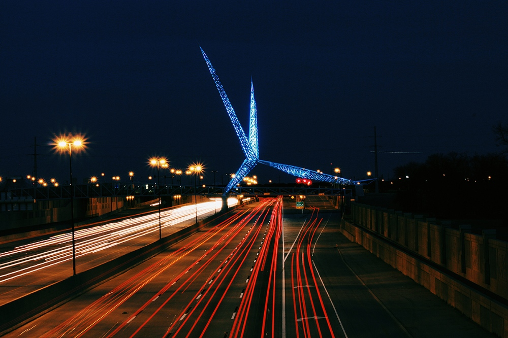 I-40 highway in Oklahoma City at night