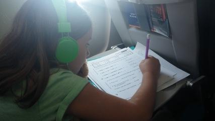 Homework on the plane to Macedonia