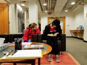 Filling out paperwork at Washington State University in St. Louis