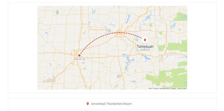 OKC to Tahlequah map